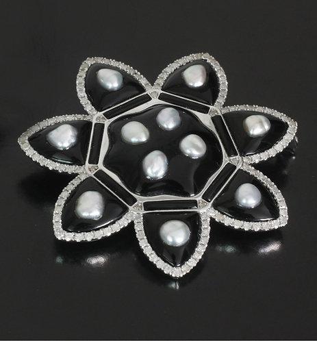 Sakura Design Hand Carved Onyx Brooch/Pendent with Japanese Akoya Keshi Pearls