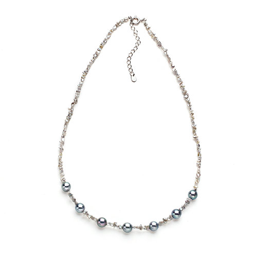 Gray Japanese Keshi Necklace with Round Akoya Pearls