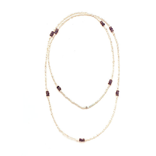 Purple Amethyst and Japanese Keshi Necklace
