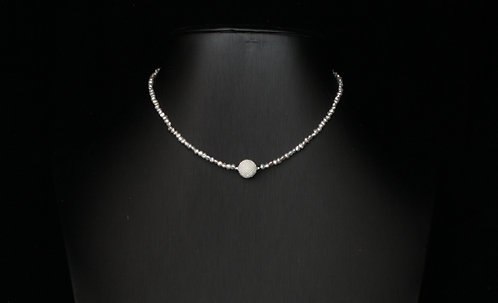 Japanese Akoya Silver-Gray Keshi and Woven Exseed Pearl Necklace
