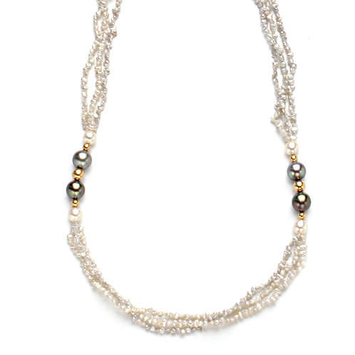 Gray Keshi and Tahitian Pearl Necklace