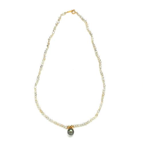 Tahitian and Japanese Keshi Necklace