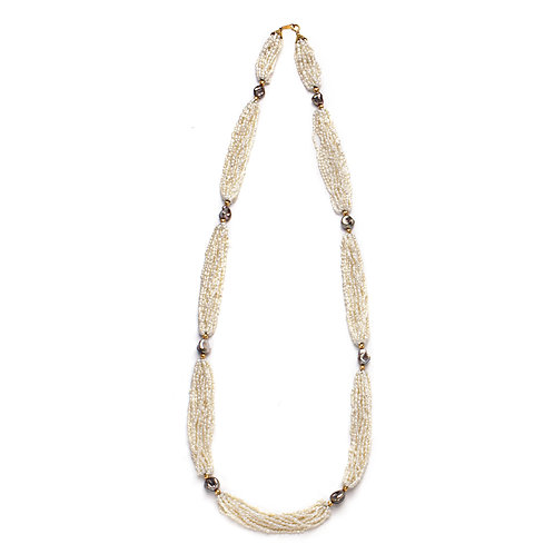 Japanese and Tahitian Keshi Pearl Necklace