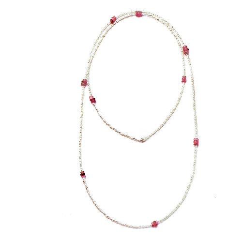Pink Tourmaline and Keshi Endless Necklace