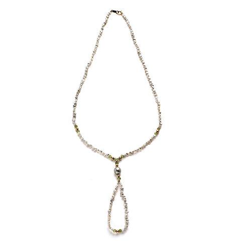 Infinity Keshi and Peridot Necklace
