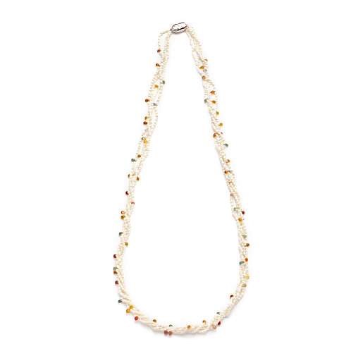 Sapphire and Japanese Keshi Necklace