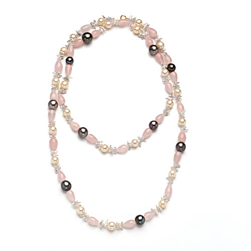 Rose Quartz Tahitian and Akoya and Japanese Keshi Necklace