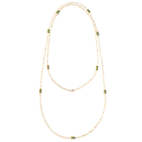 Green Tourmaline and Keshi Pearl Endless Necklace