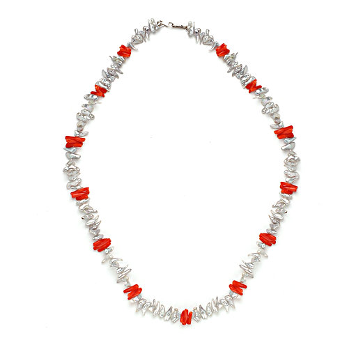 Coral and Platinum Japanese  Keshi Necklace