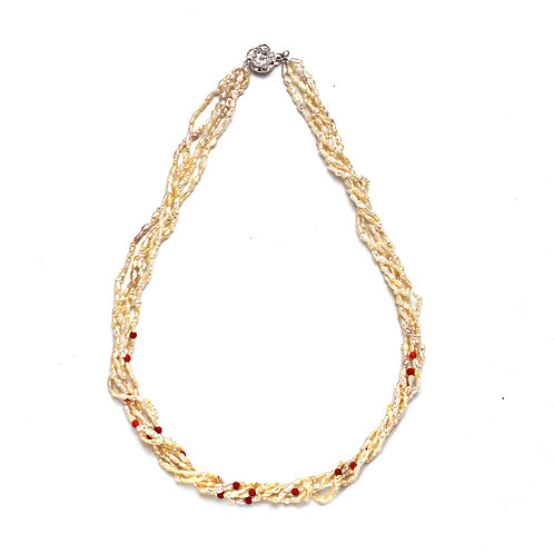 Coral and Keshi 5 Strand Necklace