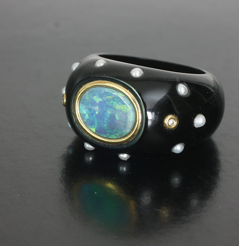 Hand Carved Black Onyx Ring with Blue-Green Opal and Japanese Akoya Saltwater