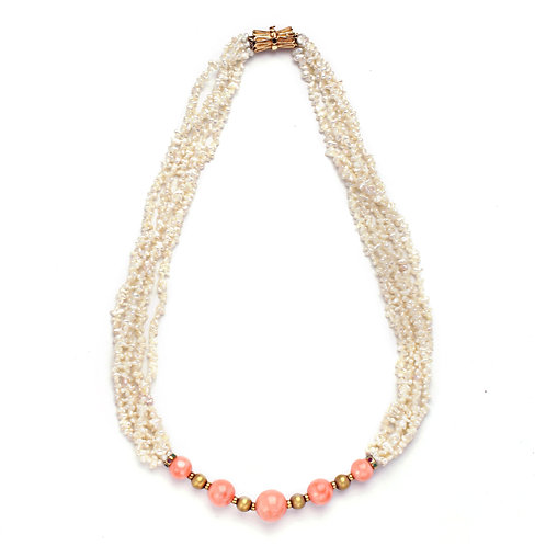 Large Coral Beads and Akoya Keshi Pearl Necklace