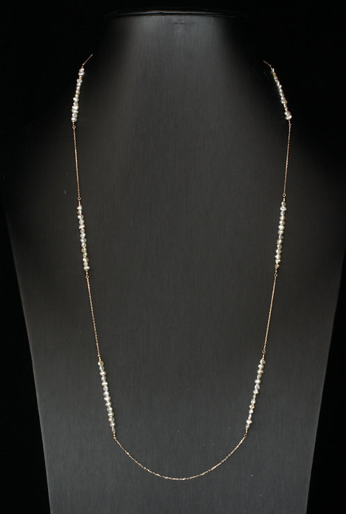 Mixed Japanese Akoya Cream Color Keshi Pearls and 18K Station Necklace