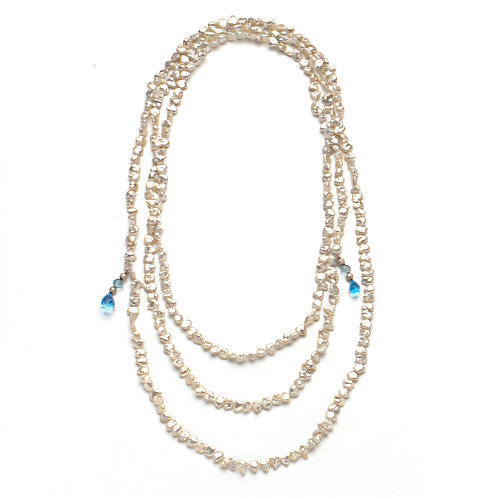 Double Strand Keshi Lariat with Topaz Ends