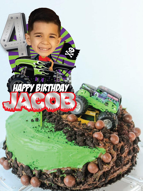 Monster Truck Cake Topper and Cupcake Toppers