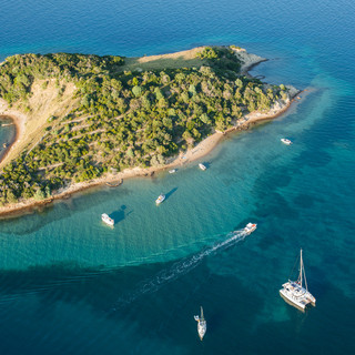 aerial view of Croatia coast line. close