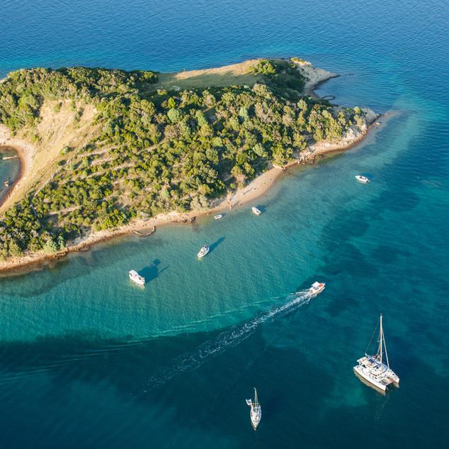 aerial view of Croatia coast line. close