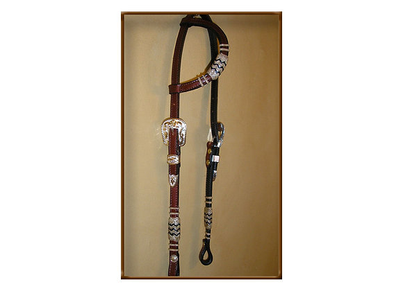 Steve Guitron Leather Bridle Silver and Gold Buckle