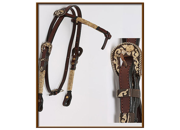 Steve Guitron Crossover Browband with Rustic Silver Buckles