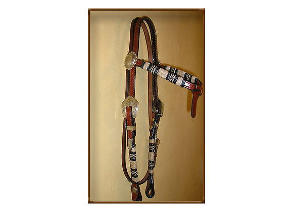 Steve Guitron Bridle Leather Full Braid Silver Reiner Buckle