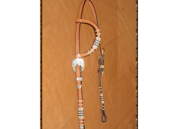 Steve Guitron Headstall with Rawide Buttons and Silver