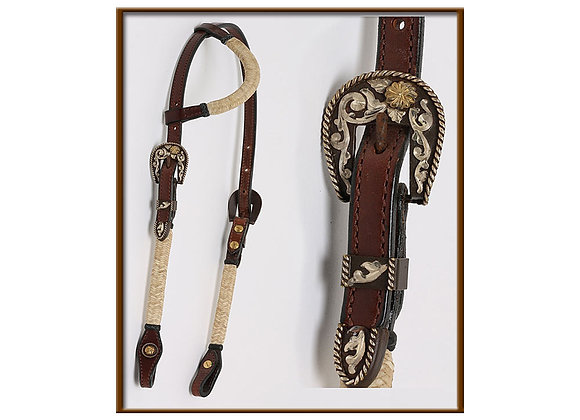 Steve Guitron Sliding Ear Headstall with Rustic Silver