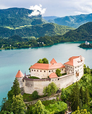 Aerial view of Lake Bled and the castle
