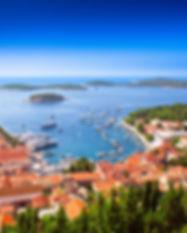 Harbor of old Adriatic island town Hvar.