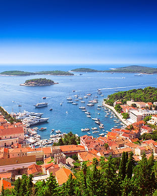 Harbor of old Adriatic island town Hvar.