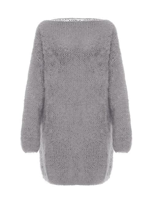 Удлиненный свитер   из мохера премиум  класса  серого  цвета