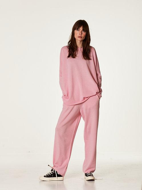 Оверсайз костюм  нежно розового  цвета  из 100% экстра мягкого кашемира