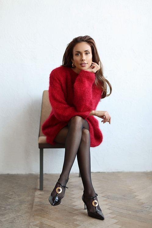 Удлиненный свитер   из мохера  премиум  класса вишневого   цвета