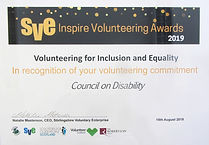 Volunteering for Inclusion and Equality certificate presented to us in 2019