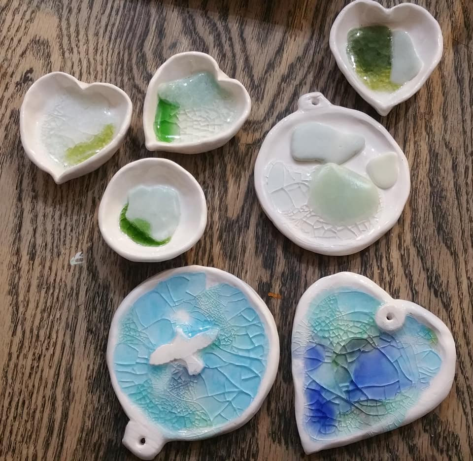 SeaBell Ceramic and glass pots and plaques