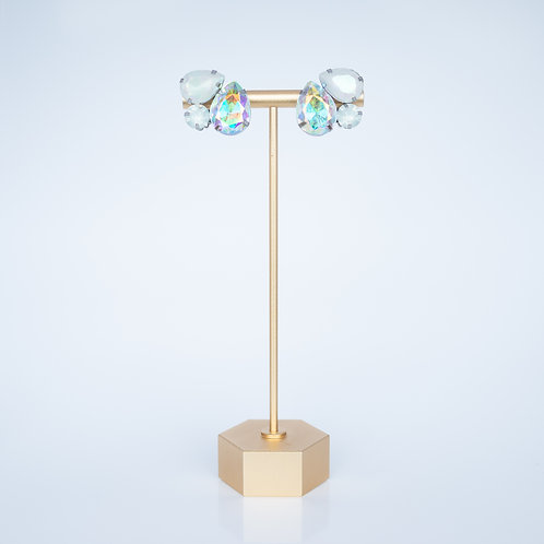 Vintage Costume Earrings — Clip-on Cloudy + Irridescent