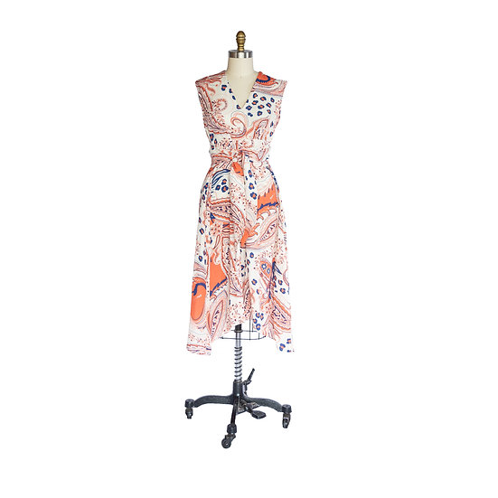 Robe-Dress in Salmon, White and Periwinkle Paisley Printed Rayon