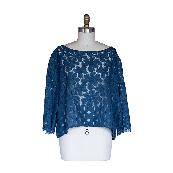 Boxy Oversized Top in Classic Blue Lace