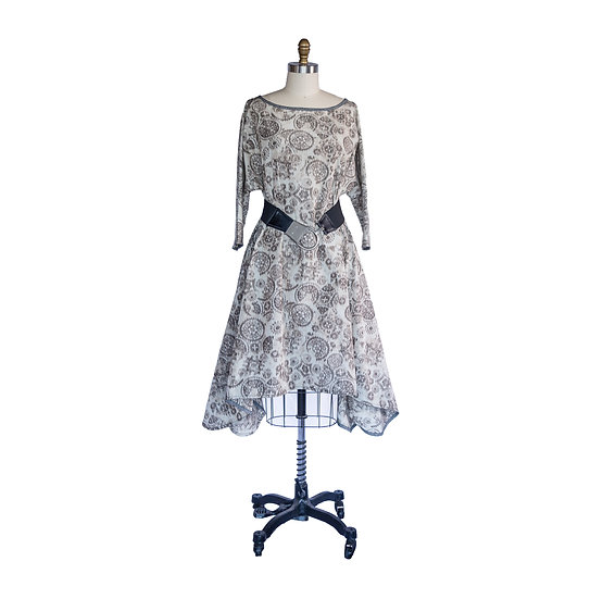 Dolman Sleeve Flip Hem Dress in Medallion Print