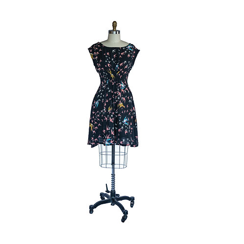 Madison Dress in Black Pink and Gold Bird Print Rayon Crepe
