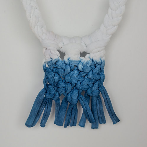 Handmade Macrame Necklace - White + Indigo