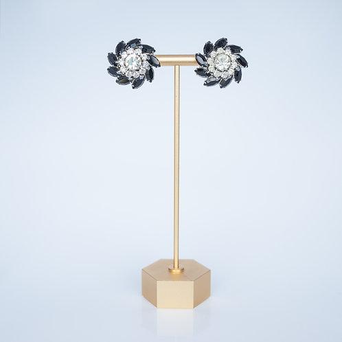 Vintage Costume Earrings — Clip-on Black + Clear Gems
