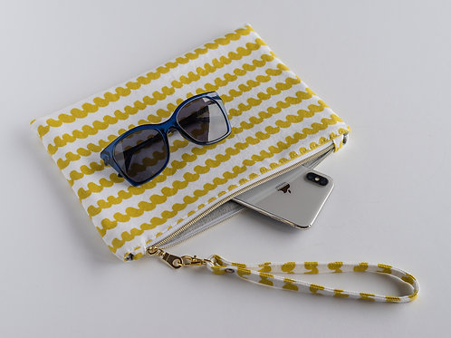 The Perfect Clutch — Yellow Scribble Print Cotton Canvas