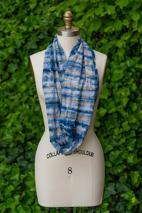 Infinity Scarf — Shibori Tie-Dyed Indigo Cotton Rust + Blue Plaid Print