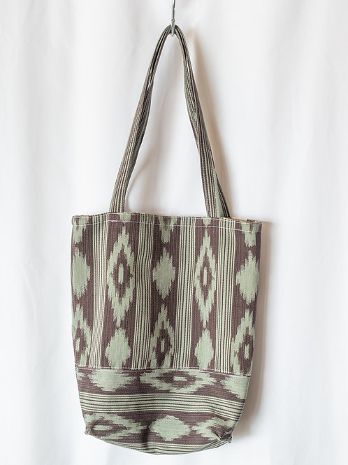 The Everyday Tote — Brown + Teal Ikat