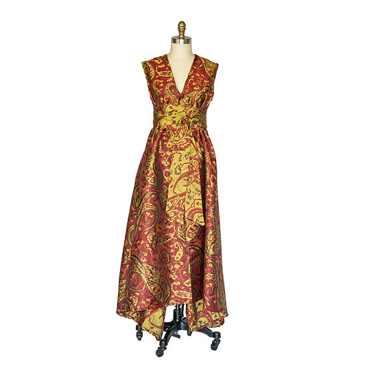 Holiday Robe-Dress in Red and Gold Paisley Printed Brocade - Long Length