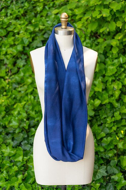 Infinity Scarf — Navy + Baby Blue Tie-Dyed Rib Knit
