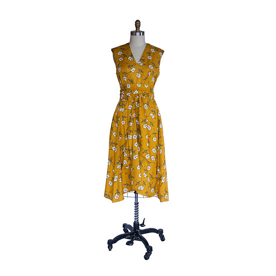 The Robe-Dress in Marigold and Periwinkle Floral Print Rayon Crepe