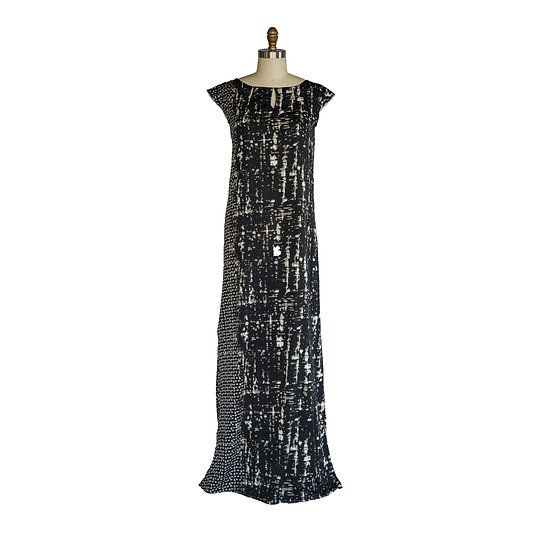 Keyhole Column Gown in Black and Gray Abstract Printed Charmeuse