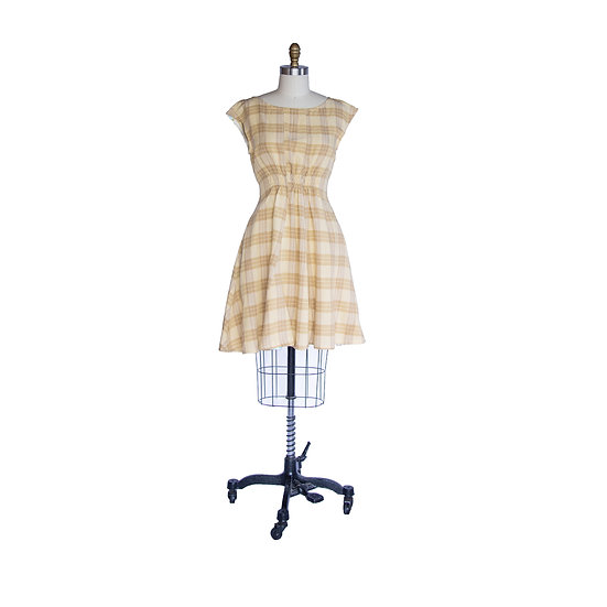 Madison Dress in Wheat and Tan Plaid Cotton