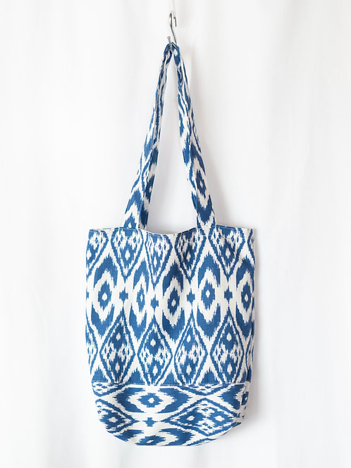 The Everyday Tote — Blue Ikat with Interior Pockets!